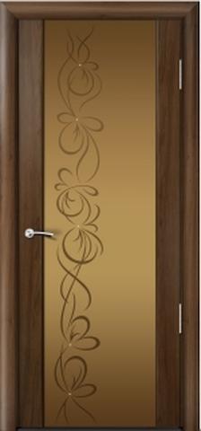 Porta Unica Сити 3 - со стеклом Бронза + рисунок и стразы, <br>цвет - Американский Орех
