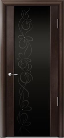 Porta Unica Сити 3 - стекло Черное + рисунок и стразы, <br>цвет - Венге