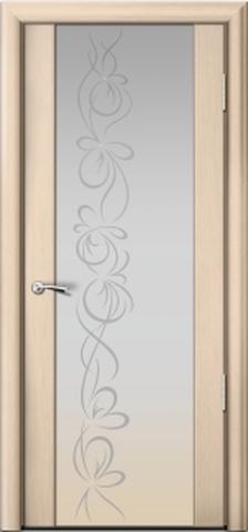 Porta Unica Сити 3 - стекло Белое + рисунок и стразы, <br>цвет - Выбеленные Дуб