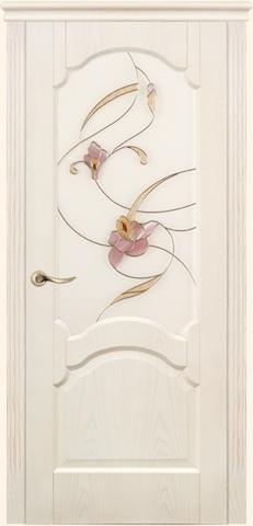 Dariano porte - дверь Барселона, витраж Орхидея, <br>цвет - ясень белый