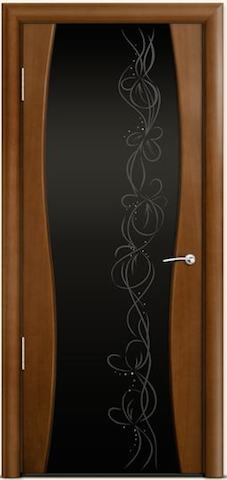 Omega 1 - широкое черное стекло Фантазия, <br>цвет - по шпону