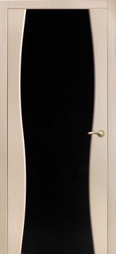 Грация - с черным стеклом триплекс, беленый дуб