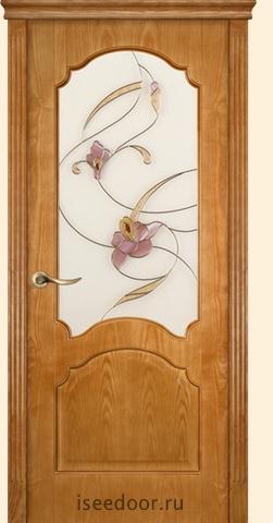 Dariano porte - Барселона, витраж Орхидея, <br> цвет ясень золото